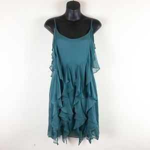 Barneys COOP Green Silk Tiered Dress